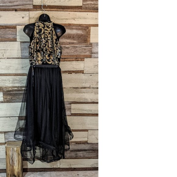 candalite Dresses & Skirts - Black & Gold Sequined Gown w/ Ribbon Tie sz S NWOT